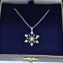 Snowflake Shaped Diamond Pendant Necklace 14k White Gold (0.77ct)