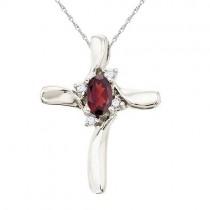 Garnet and Diamond Cross Necklace Pendant 14k White Gold