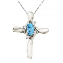 Blue Topaz and Diamond Cross Necklace Pendant 14k White Gold