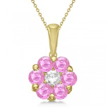 Flower Diamond & Pink Sapphire Pendant Necklace 14k Yellow Gold (1.40ct)