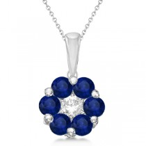 Flower Diamond & Blue Sapphire Pendant Necklace 14k White Gold (1.40ct)
