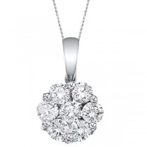 Diamond Cluster Flower Pendant Necklace in 14k White Gold 1.00ct