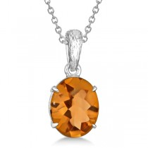 Oval Cut Citrine Solitaire Pendant Necklace in Sterling Silver (4.50ct)