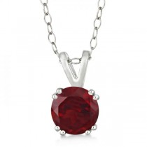 Round Garnet Solitaire Pendant Necklace Sterling Silver (1.60ct)