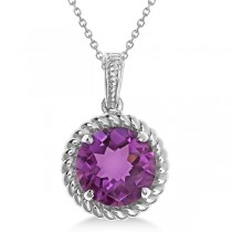 Round Cut Solitaire Amethyst Pendant Necklace in Sterling Silver (4.09ct)