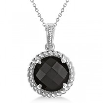 Round Cut Solitaire Black Agate Pendant Necklace in Sterling Silver (5.12ct)