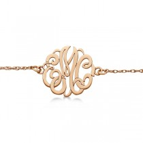 Personalized Initial Monogram Chain Bracelet in 14k Rose Gold