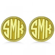 Customizable Monogram Cufflinks in Yellow Gold Over Sterling Silver