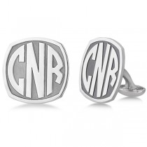 Customized Bold-Face Initial Cuff Links in Sterling Silver