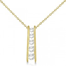 Channel Set Graduated Diamond Journey Necklace 14K Yellow Gold 1.05ct