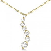 Curved Seven Stone Diamond Journey Pendant Necklace 14k Y. Gold 1.00ct