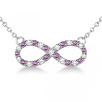 Twisted Infinity Diamond & Pink Sapphire Necklace 14k W. Gold 0.50ct