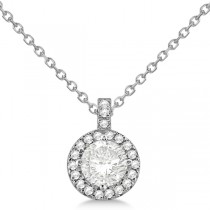 Diamond Halo Pendant Necklace Round Solitaire 14k White Gold (0.50ct)