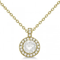 Diamond Halo Pendant Necklace Round Solitaire 14k Yellow Gold (0.50ct)