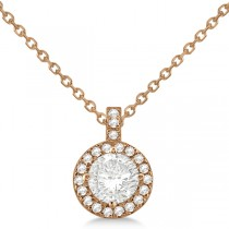 Diamond Halo Pendant Necklace Round Solitaire 14k Rose Gold (1.00ct)