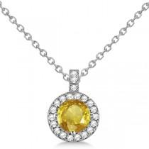 Yellow Sapphire & Diamond Halo Pendant Necklace 14k White Gold (1.07ct)