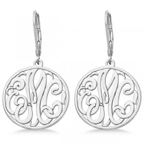 Customized Initial Circle Monogram Earrings in 14k White Gold