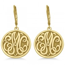 Stylized Initial Circle Monogram Earrings in 14k Yellow Gold