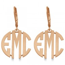 Bold 3 Initials Monogram Earrings in 14k Rose Gold