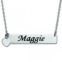 Personalized Bar Name Necklace Pendant w/ Heart Charm Sterling Silver