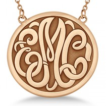 Engraved Initial Circle Monogram Pendant Necklace in 14k Rose Gold