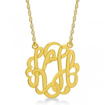 Personalized Double Initial Monogram Pendant in 14k Yellow Gold