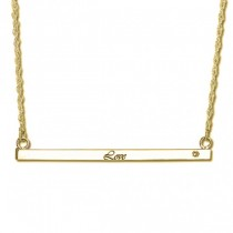 Women's Personalized Thin Bar Necklace w/ Diamond 14k Y. Gold (0.05ct)