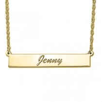 Women's Personalized Engraved Name Necklace Bar Pendant 14k Y. Gold
