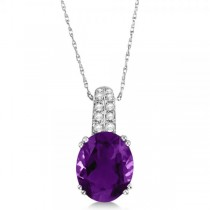 Diamond Accented Amethyst Pendant Necklace in 14k White Gold (3.26ct)