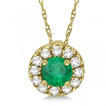 Round Halo Diamond and Emerald Pendant 14k Yellow Gold (0.46ct)