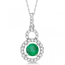 Dangle Drop Diamond and Emerald Pendant 14k White Gold (0.65ct)