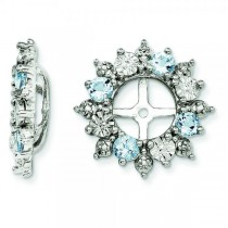 Diamond Accented Aquamarine Earring Jackets Sterling Silver (0.68ct)