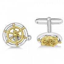 Vermeil Sailor Wheel Cuff Links in Sterling Silver