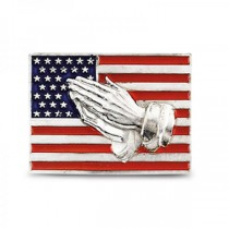 Red, White & Blue American Flag Pin w/ Praying Hands 14k White Gold