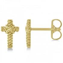 Cross Rope Stud Earrings in Plain Metal 14k Yellow Gold