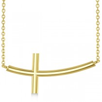Religious Curved Sideways Cross Pendant Necklace 14k Yellow Gold
