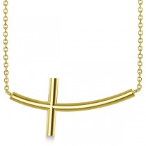 Religious Curved Sideways Cross Necklace Pendant 14k Yellow Gold