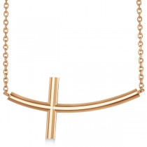 Curved Sideways Cross Necklace Religious Pendant 14k Rose Gold