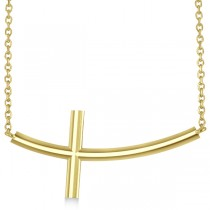 Curved Sideways Cross Necklace Religious Pendant 14k Yellow Gold