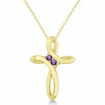 Amethyst Two Stone Religious Cross Pendant Necklace 14k Yellow Gold (0.10ct)