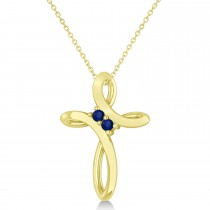 Blue Sapphire Two Stone Swirl Cross Pendant Necklace 14k Yellow Gold (0.10ct)
