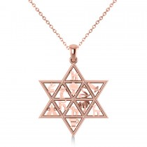 Star of David & 12 Tribes Religious Pendant Necklace 14k Rose Gold