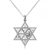 Star of David & 12 Tribes Pendant Necklace in 14k White Gold