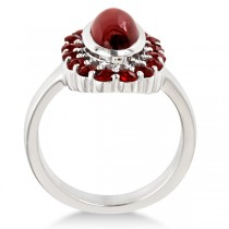 Oval Cut Garnet Cocktail Ring in Sterling Silver (4.28ct)