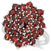 Round Cut Garnet Cluster Cocktail Ring in Sterling Silver (5.40ct)