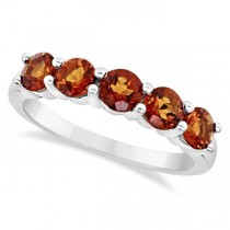 Madeira Citrine Five Stone Ring Sterling Silver (1.15ct)