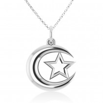 Crescent Moon & Star Pendant Necklace 14k White Gold