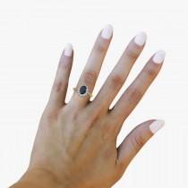 Lady Diana Blue Sapphire & Diamond Ring 14k Yellow Gold (2.10 ctw)