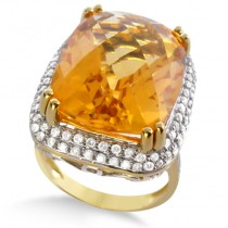 Cushion Cut Citrine & Diamond Cocktail Ring 14k Yellow Gold (17.60ct)