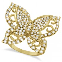 Contemporary Butterfly Shaped Diamond Ring 14k Yellow Gold (1.00ct)